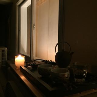 キャンドルつけて バルコニーでオープンエアなテラス生活