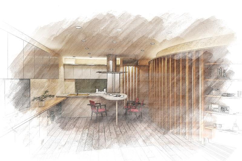 マンションリフォーム:優美なる曲面構成のキッチン